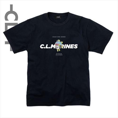 謎の魚 マリーンズロゴ半袖T ブラック(CLM21-002)