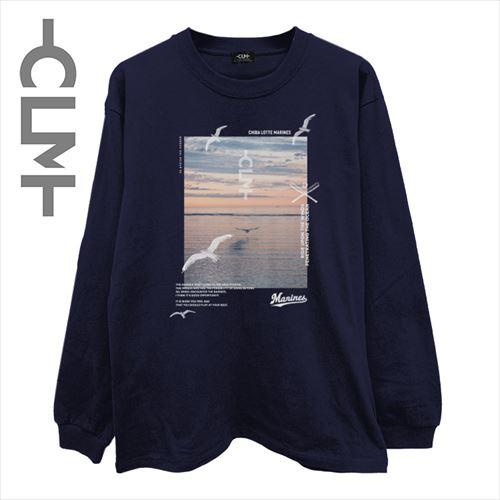 SUN SETフォト 長袖Tシャツ  ネイビー(CLM21-024)