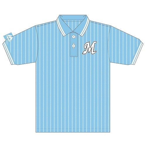 カモメストライプポロシャツ 青