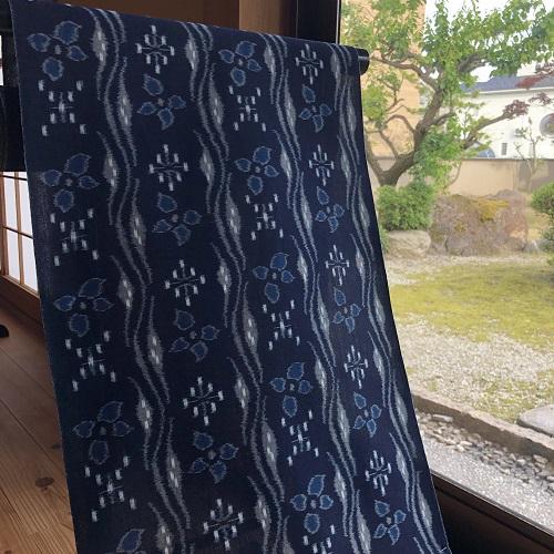 krm-03[木綿の着物]重要無形文化財[久留米絣][田中比呂司]久留米かすり手織り・紺 (仕立て代込み)