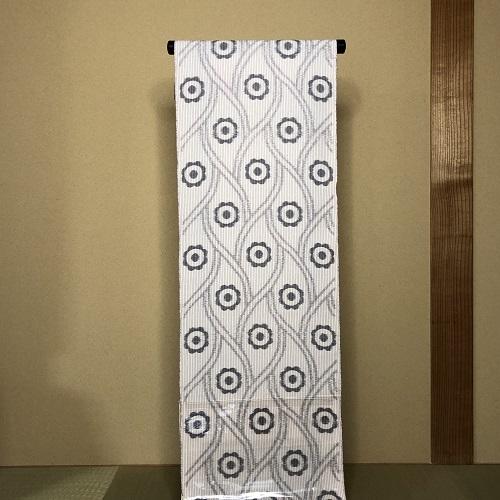 krm-05[綿ちぢみ着物][夏久留米絣][坂田織物]久留米かすり 花・縞 (仕立て代込み)
