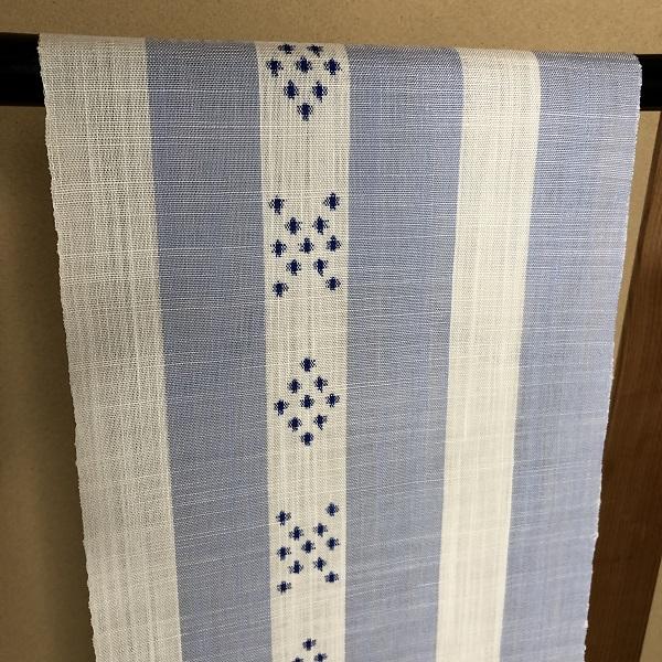 njf-06[麻織物][夏帯]本麻手織 能登上布 帯 縞/青 織元 山崎仁一 (仕立代込み)