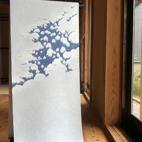 ngo32 [名古屋帯] [上村米重] 塩瀬 「雪帽子」 (仕立代込)