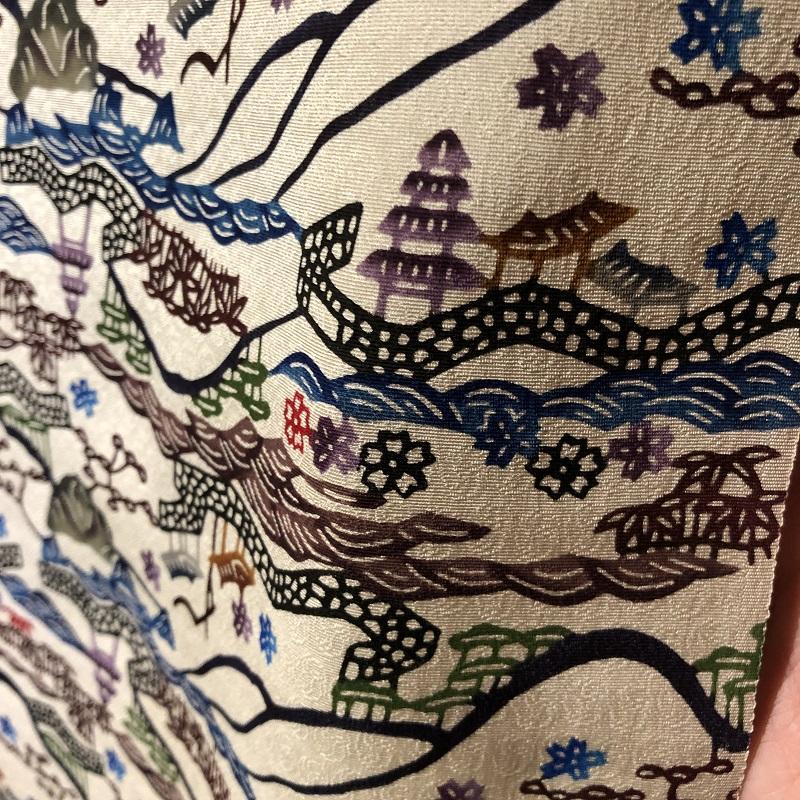 [小紋][城間栄順]琉球紅型 「岩に青海波に城下町」(仕立て代込)