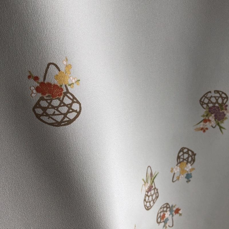 [小紋] 「花かご 松葉白緑」 緑系青系 (仕立て代込)