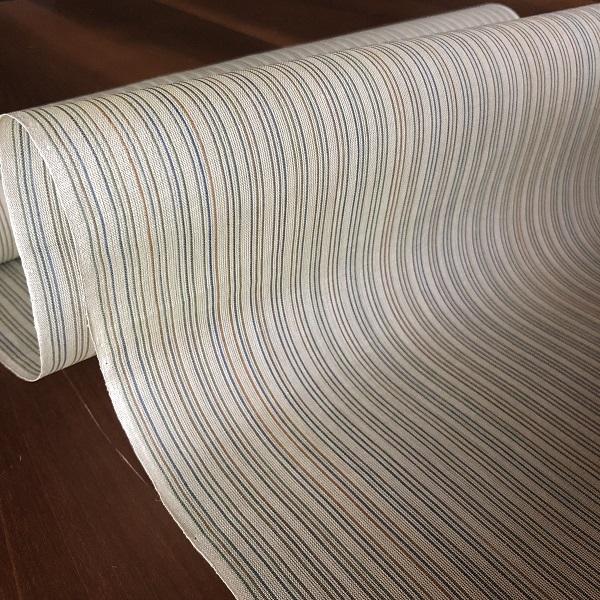 njf-02[麻織物][夏着物]本麻手織 能登上布 縞/茶色 織元 山崎仁一 (仕立て代込み)