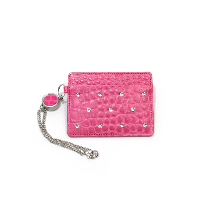 《ビージュエルド》クロコ型押しパスケース・スワロフスキーの輝きが美しい【ツツジ色(ピンク)】