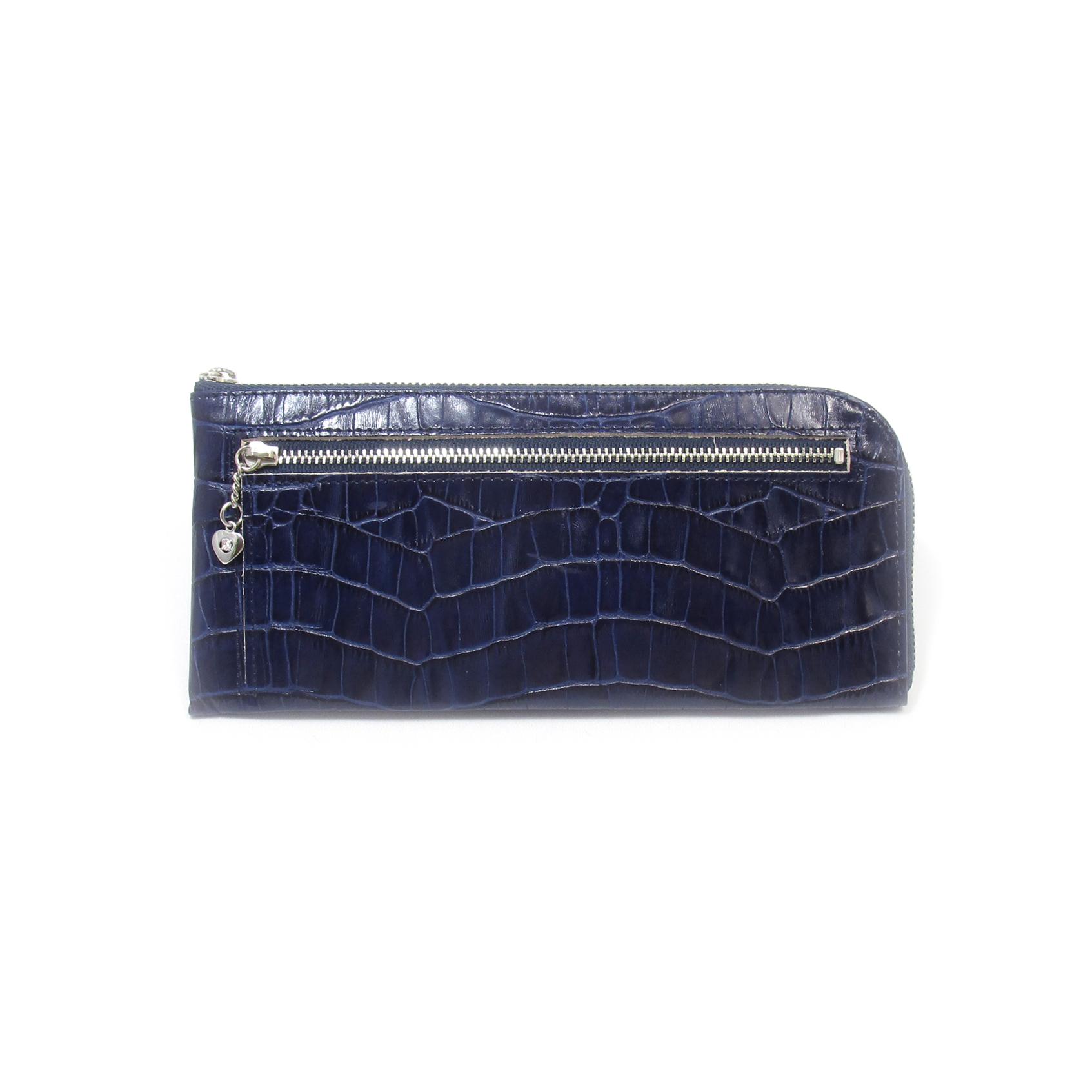 《ビージュエルド》クロコ型押し薄型長財布<ウレタン染色>・キラリと輝くスワロフスキー【ネイビー】