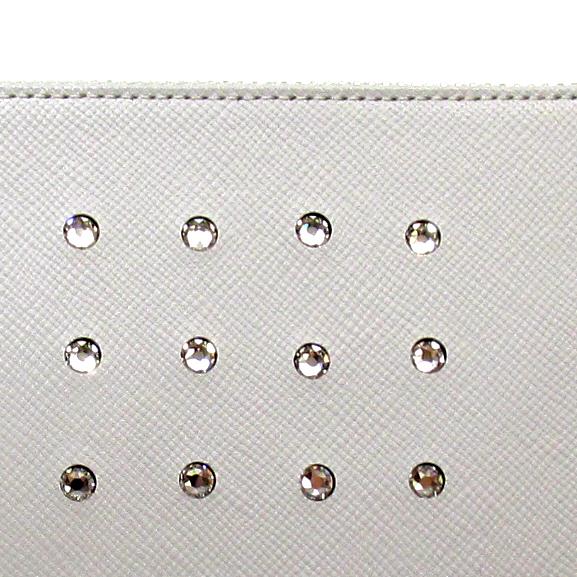 《ビージュエルド》薄型長財布<ヘアライン角シボ>・キラリと輝くスワロフスキー【ライトグレー】