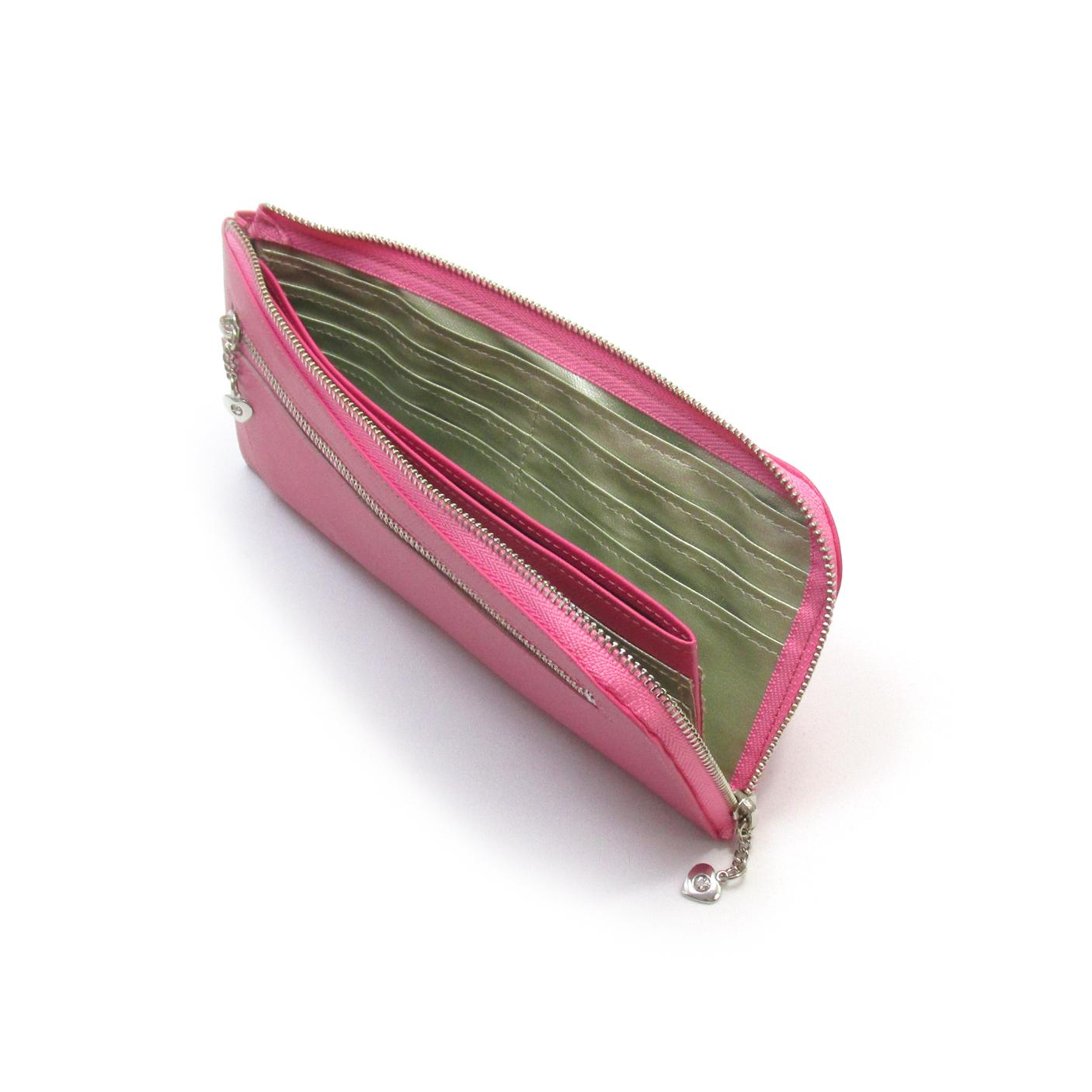 《ビージュエルド》薄型長財布<ヘアライン角シボ>・キラリと輝くスワロフスキー【ピンク】