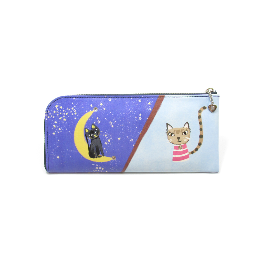 《ビージュエルド》薄型長財布<昼夜猫 トリコ&ケララ> インクジェットプリント【ブルー】
