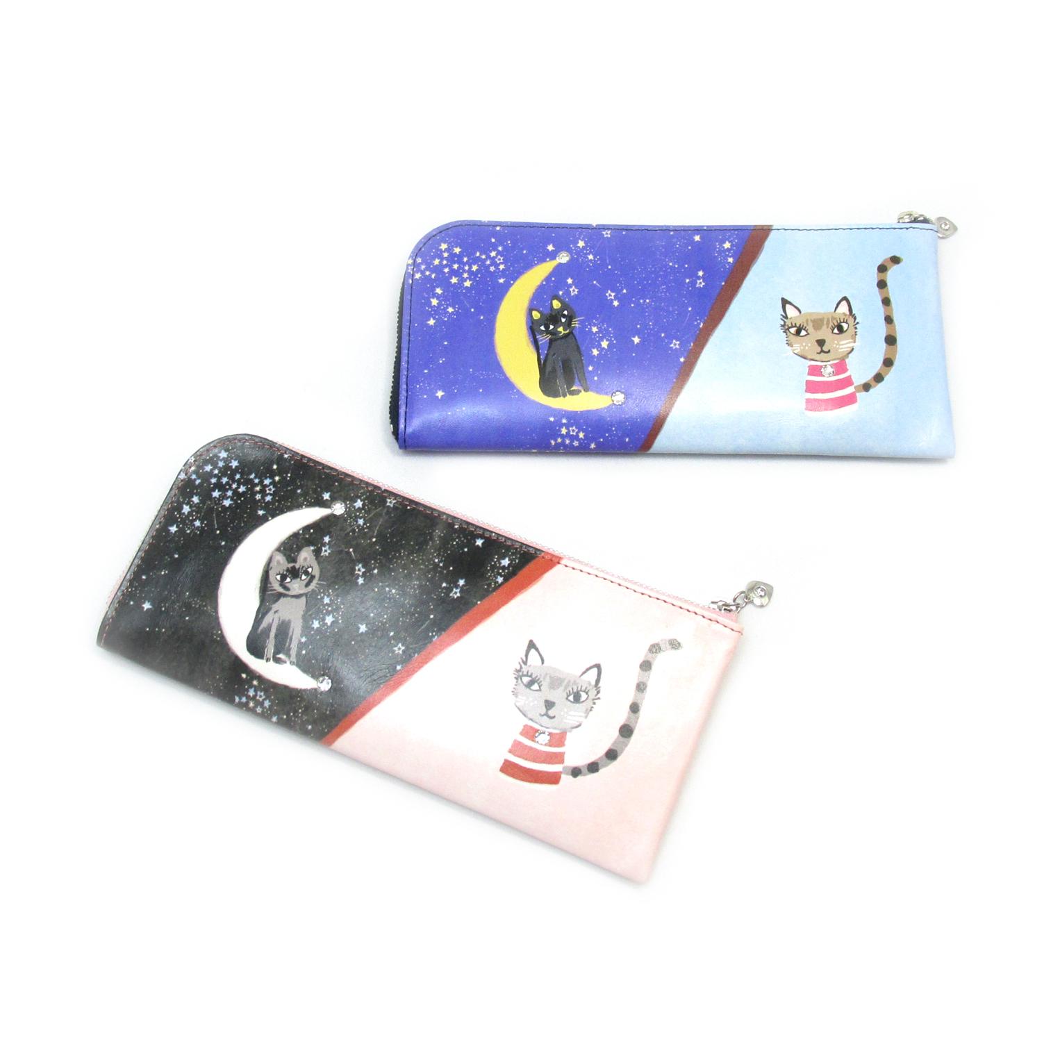 《ビージュエルド》薄型長財布<昼夜猫 トリコ&ケララ> インクジェットプリント【ピンク】