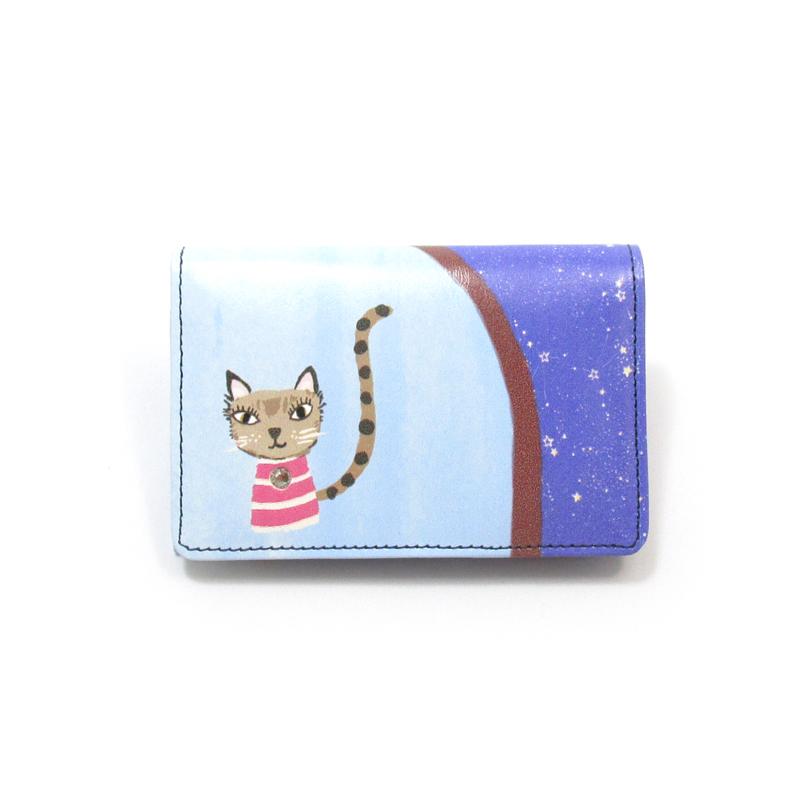 コピー《ビージュエルド》名刺入れ <昼夜猫 トリコ&ケララ> インクジェットプリント【ピンク】