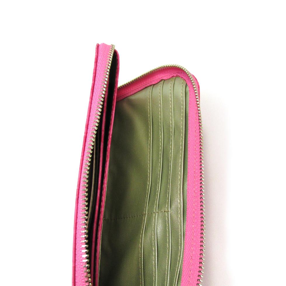 《ビージュエルド》クロコ型押し薄型長財布・キラリと輝くスワロフスキー【ツツジ色】
