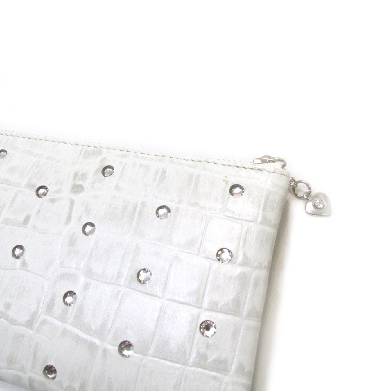 《ビージュエルド》クロコ型押し薄型長財布・キラリと輝くスワロフスキー【雪色】