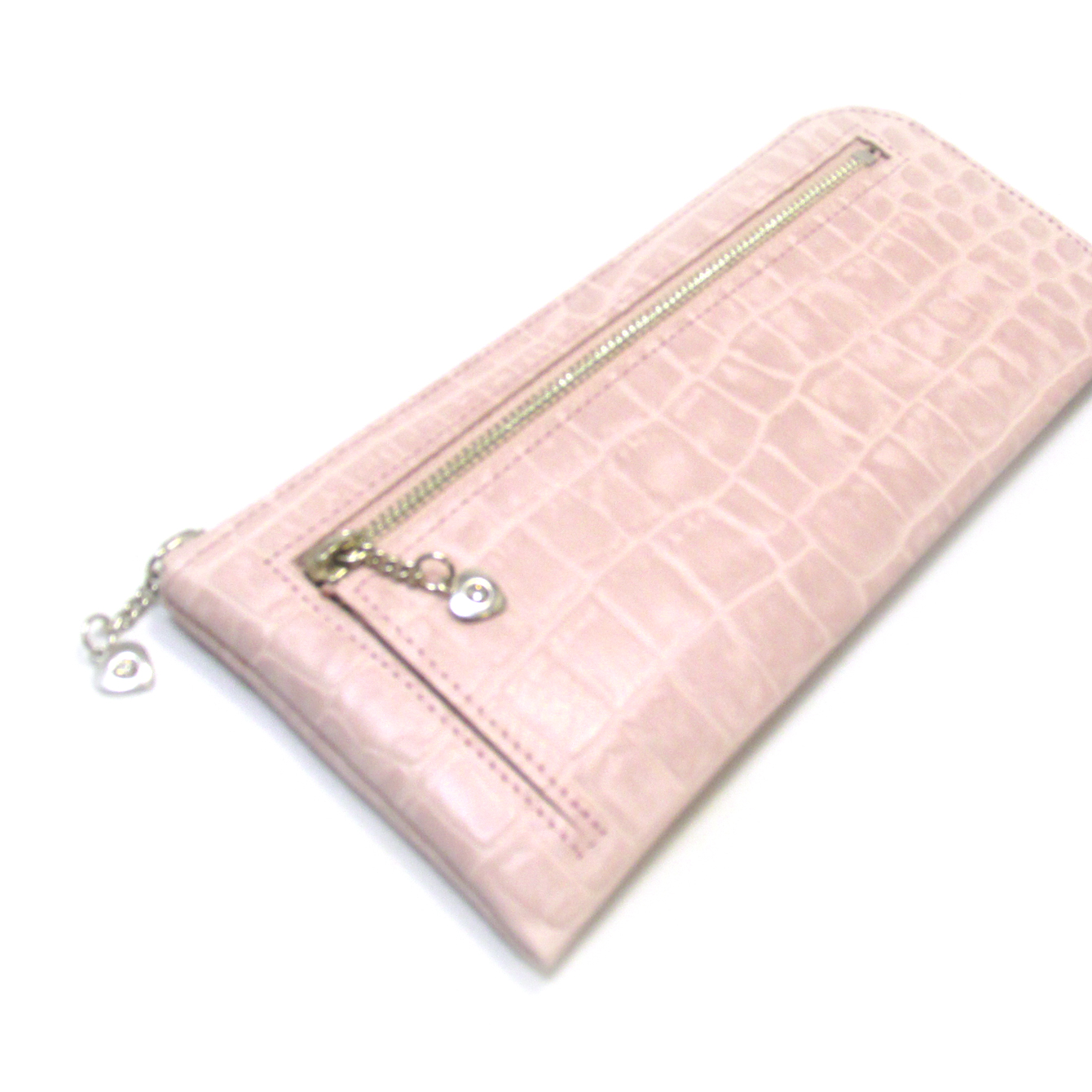 《ビージュエルド》クロコ型押し薄型長財布・キラリと輝くスワロフスキー【サクラ色】