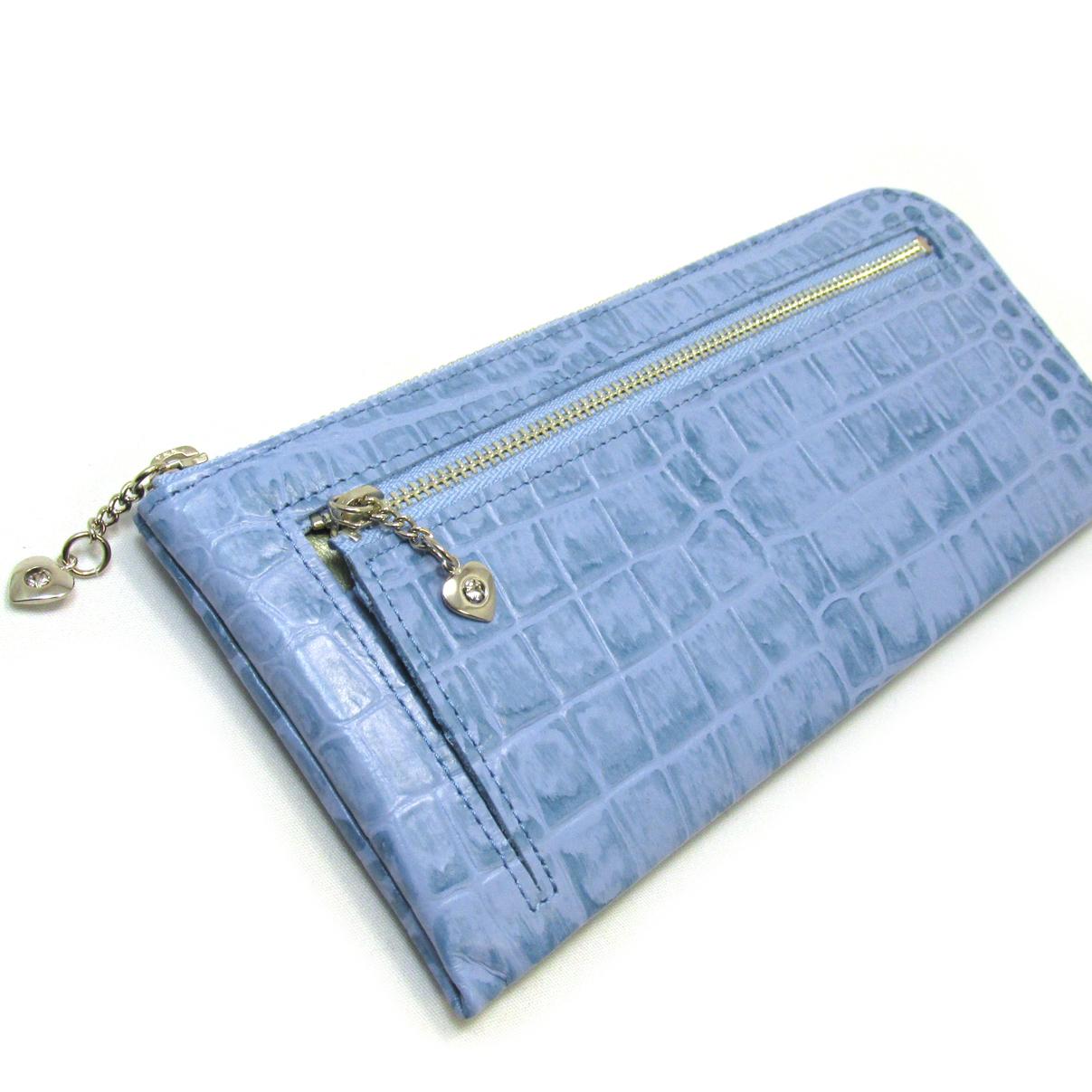 《ビージュエルド》クロコ型押し薄型長財布・キラリと輝くスワロフスキー【空色】
