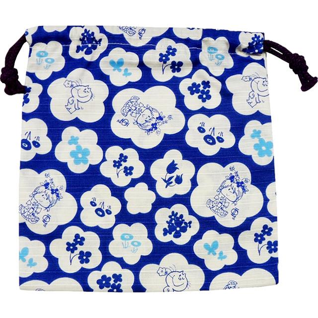 水森亜土 和柄シリーズ 巾着 青