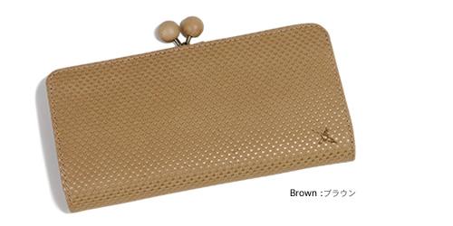 【アインソフ Ain Soph ロングウォレット】しっかり収納できちんと整理、まぁるい木製飾り玉のがま口小銭入れ付き。やわらかい手触りのステアレザーに、メタリックドットプリントがかわいい長財布。しっとり牛革の素材感がたまらない。「DA912-PLK」