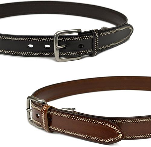 【本革 メンズ レディース ベルト】『couleur -クルール-』ジグザグのステッチがアクセント、気軽に使いたいシンプルな牛革ベルト