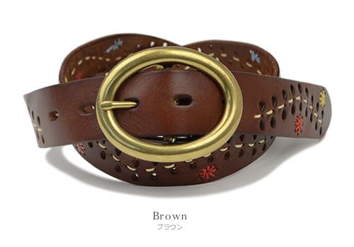 【本革 ベルト】『couleur -クルール-』くったり素材感の牛革に流れるステッチ、お花の刺しゅうと葉っぱのパンチングがかわいい、レディースカジュアルベルト