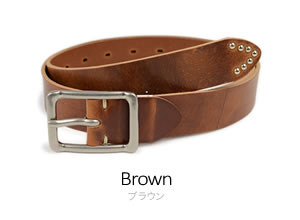 【ベルト 日本製】『 Nippon de Handmade 』スタッズ付の長めの剣先がポイント。ウエストにオシャレなアクセント、細めのカジュアルイタリアンレザーベルト。日本で職人さんがベルト1本1本手作り。牛革ベルト メンズ レディース