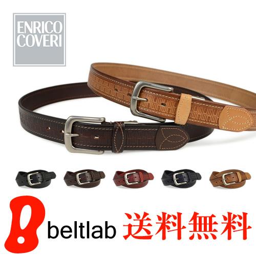 【本革 ベルト メンズ】イタリアのブランド ENRICO COVERI -エンリココベリ- より上質な一枚革に型押しとステッチのデザイン。カジュアルからビジネスまで 選べる5カラー ブラック ダークブラウン レッド ネイビー ナチュラル 送料無料