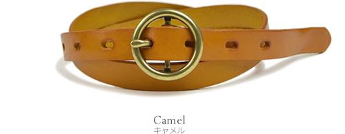 【本革 ベルト】『couleur -クルール-』まるいゴールドのリングバックル。ころんとしたバックルがかわいい細ベルト レディース