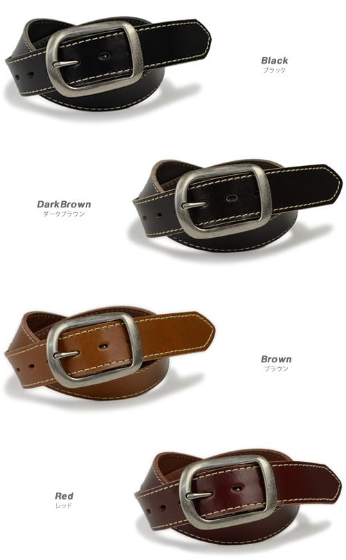 ベルト専門店♪【本革ベルト】『enjoy!DENIM -エンジョイデニム-』ちょっぴり太めの約4cm幅のレザーベルト。ベーシックなデザインにシルバーカラーのギャリソンバックルとシンプルなステッチでアクセント。メンズ、レディースに♪