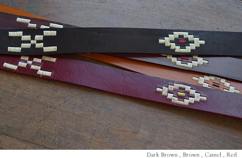 【本革 ベルト】『couleur -クルール-』オルテガ柄の大きな刺しゅうがアクセント。いい色、牛革カジュアルベルト メンズ レディース