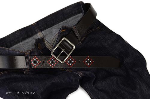 ベルト専門店♪【本革ベルト】『enjoy!DENIM -エンジョイデニム-』しなやかな牛革とアンティークシルバーカラーのギャリソンバックルにきらりと輝くダイヤ柄のデザイン。あなたのウエストにアクセントになるレザーベルトMEN'S LADY'S Belt