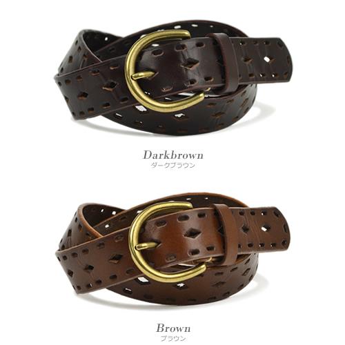 ベルト カジュアル レディース 本革 牛革 couleur クルール 着回ししやすい普段使いのベルト、ダイヤと楕円のパンチングで、一枚革に透かし模様
