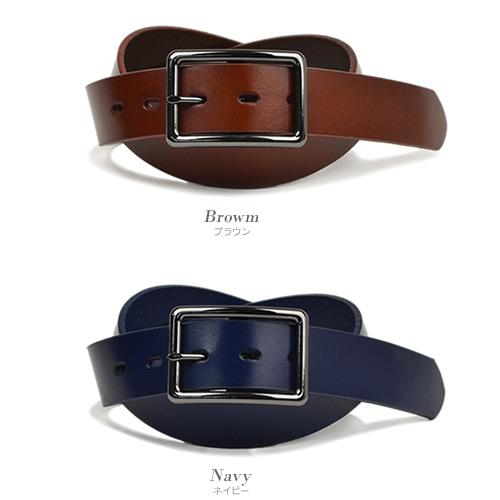 ベルト メンズ レディース カジュアル 本革 牛革 couleur クルール シンプル一枚革に黒メッキのバックルが印象的