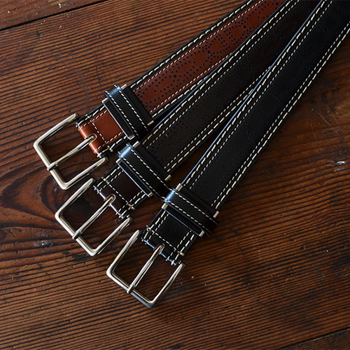 ベルト メンズ レディース カジュアル 本革 牛革 couleur クルール パンチングで描くトラディショナルなデザイン、ステッチの遊び心が楽しい