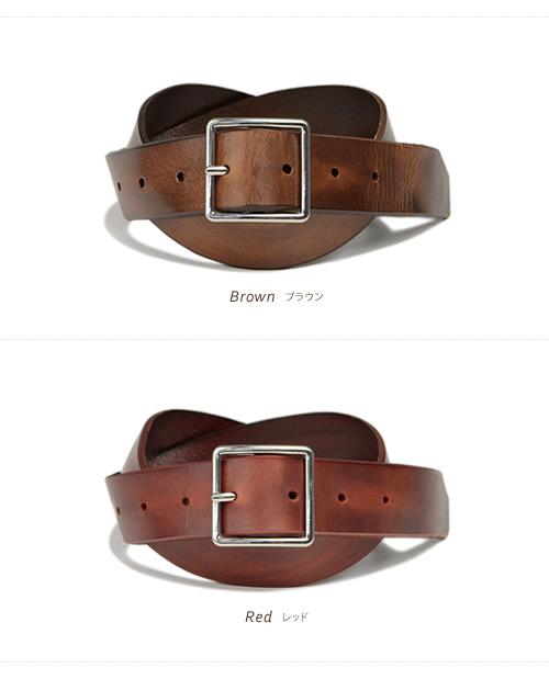 【本革 メンズ レディース ベルト】『Enjoy! DENIM エンジョイデニム』スクエアカットが小気味良い、アンティーク風ダメージ加工のレザーベルト。牛革の素材感と深みのあるカラーリングは、デニムとの相性もばつぐん。