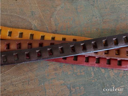 【本革 ベルト】『couleur -クルール-』四角いピンホールがいっぱい、どこでもとめられる フリーサイズの細ベルト レディース