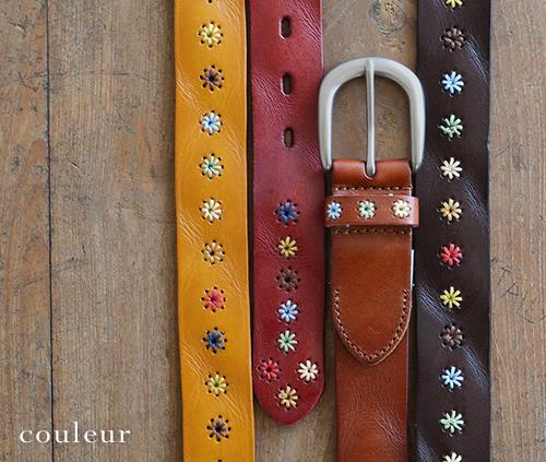 【本革 レディース ベルト】『couleur -クルール-』くったり素材感の牛革に、色とりどりのお花のステッチ。女性におすすめのかわいいカジュアルベルト。