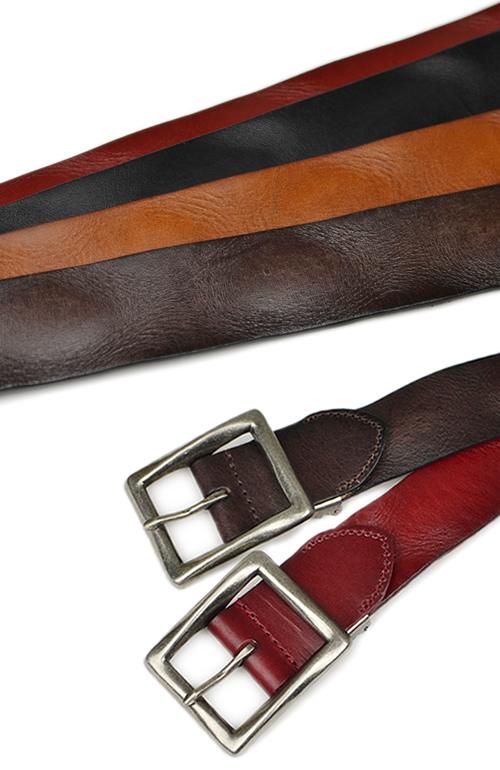 【本革 メンズ ベルト】『couleur -クルール-』しっかり4cm幅に、四角い大きめギャリソンバックルの存在感。ユーズド感あるシワとヨレの加工が渋い、カジュアルな牛革ベルト