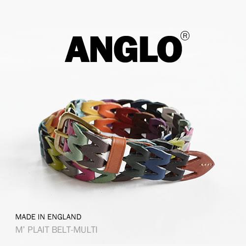 【ANGLO アングロ ベルト メッシュベルト 送料無料】M' PLAIT BELT-MULTI 楽しい「色」と「個性」を感じることができる ANGLO、メンズ、レディースに、1本1本ハンドメイドで仕上げた本革ベルト ANGLO アングロ