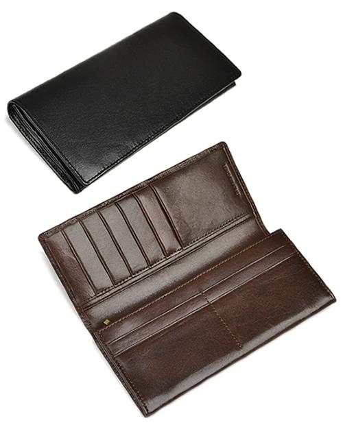 【財布 メンズ 長財布】普段使いもビジネスでもOK、二つ折りの長財布。上質なイタリア牛革で品ある佇まい、男性におすすめです。イタリアンレザー 本革財布 ウォレット ギフト プレゼント