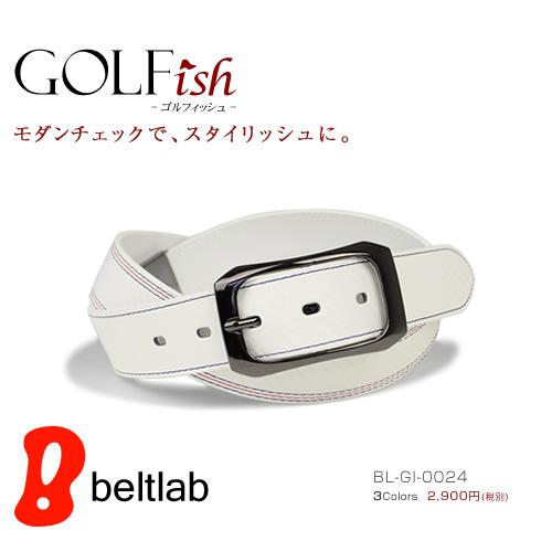 【GOLFish -ゴルフィッシュ-】モザイクのように見える柄は表情を変え、かっこいい雰囲気です。ベルト調整の位置は、スイングしやすいように、いつもと違う所に付いているのが嬉しい。ゴルフウェアにアクセント、ゴルフをスタイリッシュに楽しむメンズベルト。「BL-GI-0024」