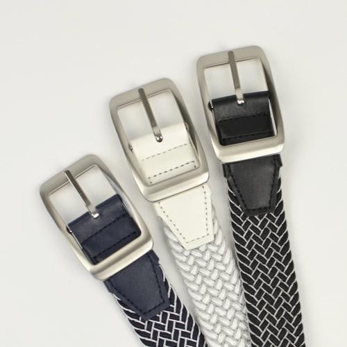 ゴルフ ベルト メンズ ゴルフウェア スポーツウェア ゴルフにおすすめ 伸縮するゴム素材でほどよくフィット。シックな2色のメッシュ編み込み リバーシブル
