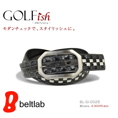 【GOLFish -ゴルフィッシュ-】カラフルな市松模様がパッと目を引いて、プレイ中にチラ見せしたくなる。ゴルフウェアにアクセント、ゴルフをスタイリッシュに楽しむメンズベルト。「BL-GI-0025」