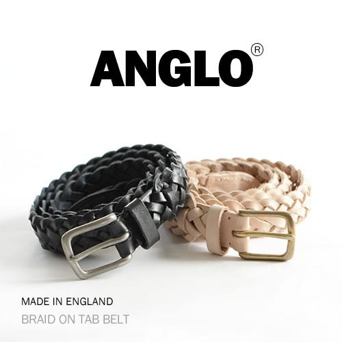 【ANGLO アングロ ベルト メッシュベルト 送料無料】BRAID ON TAB BELT 独創的な「デザイン」と「歴史」を感じることができる ANGLO、メンズ、レディースに、1本1本ハンドメイドで仕上げた本革ベルト ANGLO アングロ