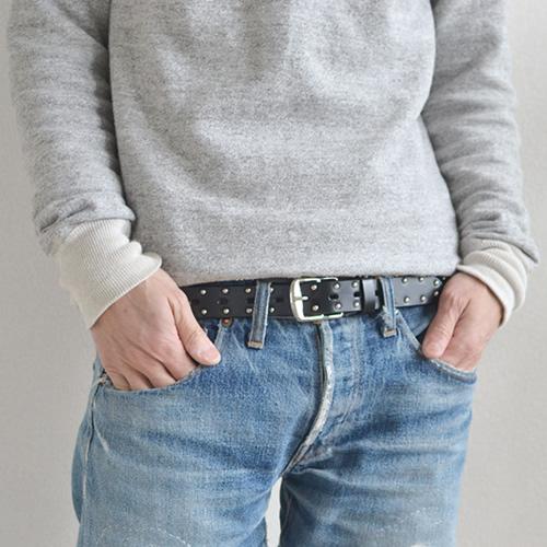 【ベルト スタッズベルト】スタッズ ベルト Calm Alnair すっきり細み シンプルなスタッズベルト スタイルのアクセントになるベルト 男性にも女性にもおすすめのスタッズベルト メンズ レディース