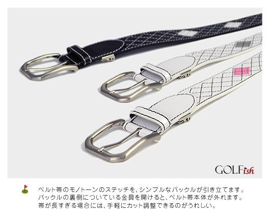 【GOLFish-ゴルフィッシュ-】差し色のひし形とステッチで、定番のアーガイル柄。ゴルフウェアにアクセント、ゴルフをスタイリッシュに楽しむメンズ用ベルト。「BL-GI-0012」