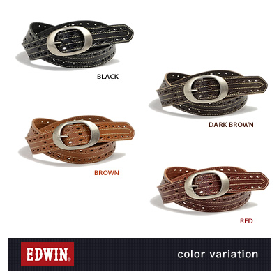 『EDWIN -エドウィン-』ロングサイズの40mm幅、ダイヤのパンチングと太め糸のステッチでカジュアルに。メンズにもレディースにも、こだわり牛革のレザーベルト