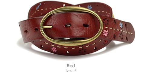 【本革 ベルト レディース】『couleur -クルール-』刺しゅうとステッチがアクセント♪カラフルなお花がかわいいカジュアルベルト