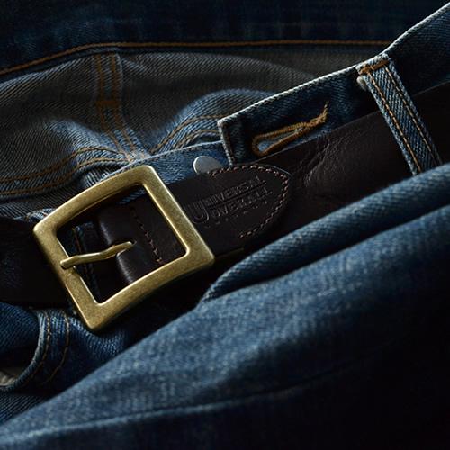 ベルト メンズ レディース カジュアル UNIVERSAL OVERALL ユニバーサルオーバーオール 本革 牛革 ユーズド感あるシワ加工の一枚革