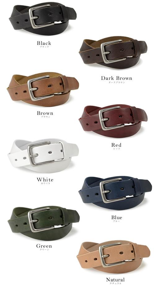 【送料無料 日本製 ベルト】 Nippon de Handmade こだわり牛革の細みスタンダード、日本で革職人さんがベルト1本1本手作り、メンズ、レディースにベーシックな本革ベルト